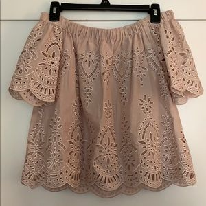 Parker Size XS Blush Embroidered Off Shoulder Top